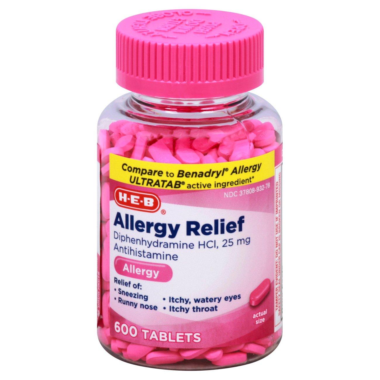 H‑E‑B Allergy Relief Antihistamine 25 mg Tablets ‑ Shop Sinus & Allergy at  H‑E‑B