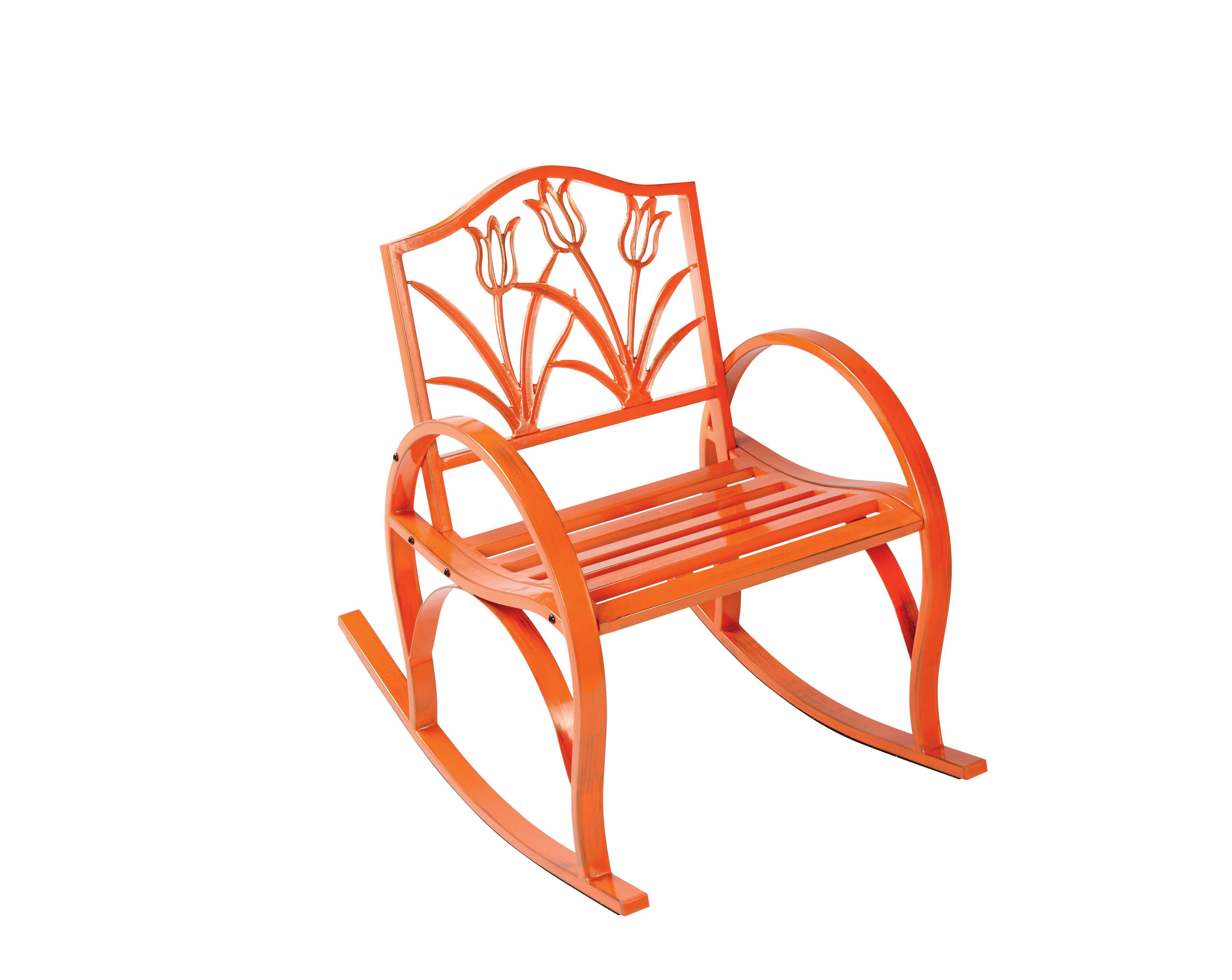 Outdoor Solutions Orange Tulip Rocking Chair Shop Furniture at HEB