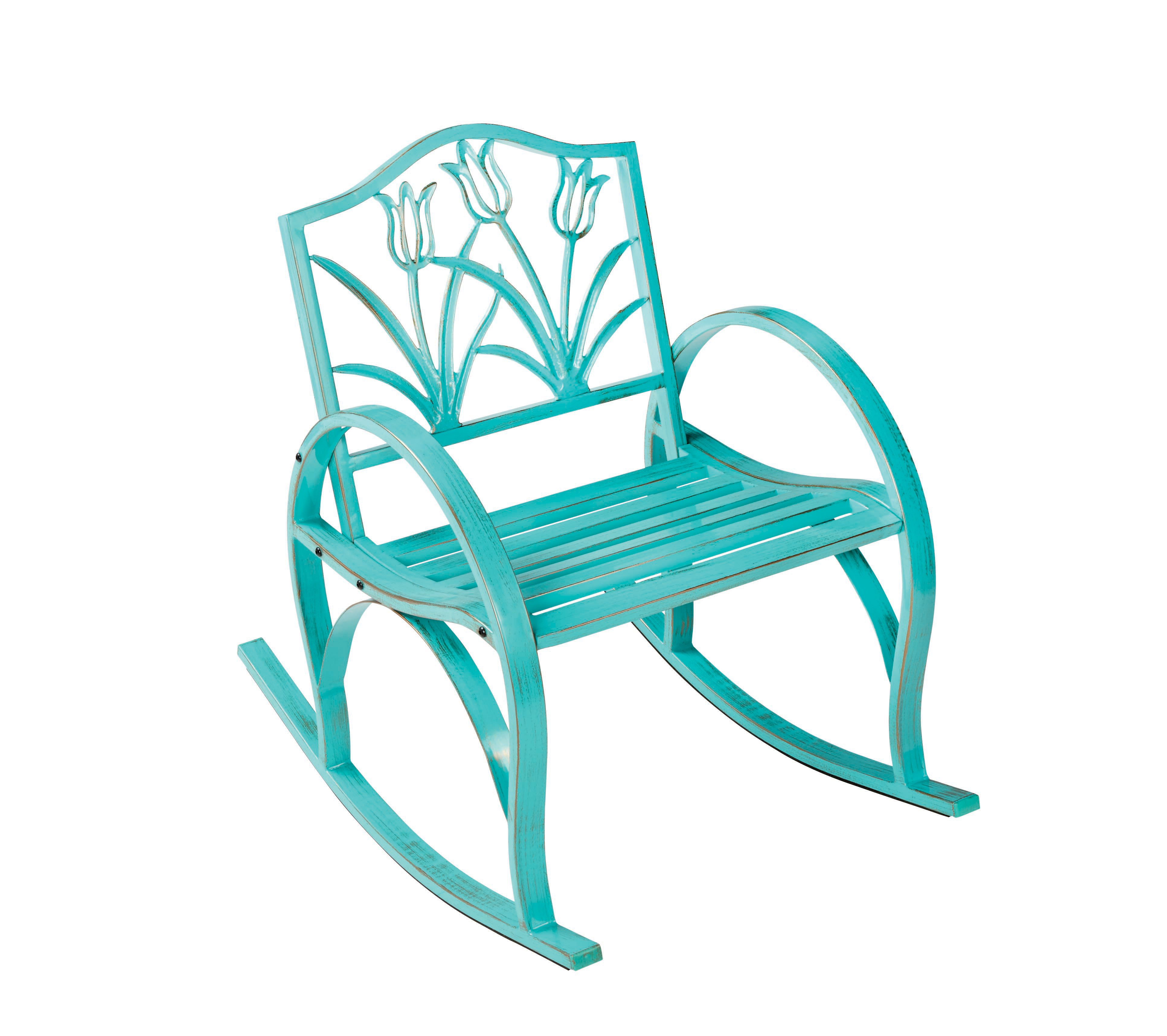 Outdoor Solutions Teal Tulip Rocking Chair Shop Furniture at HEB