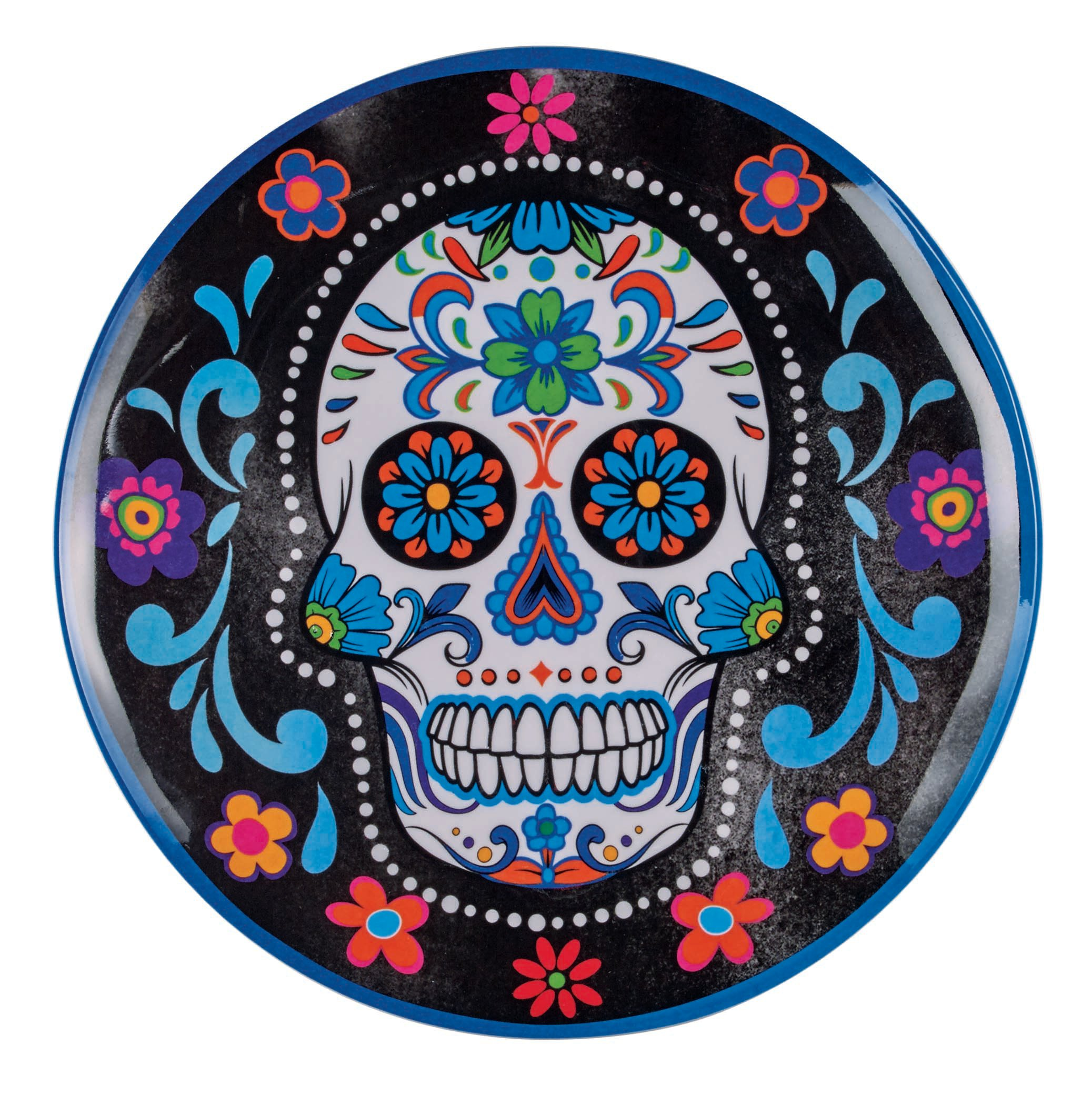 Cocinaware Blue Day Of The Dead Skull Melamine 9 in Salad Plate ...