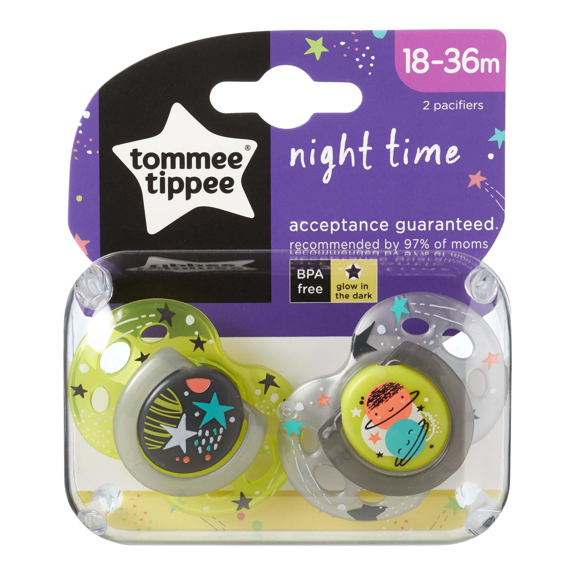 Tommee Tippee Soother Night 6-18 Months Color Assorted