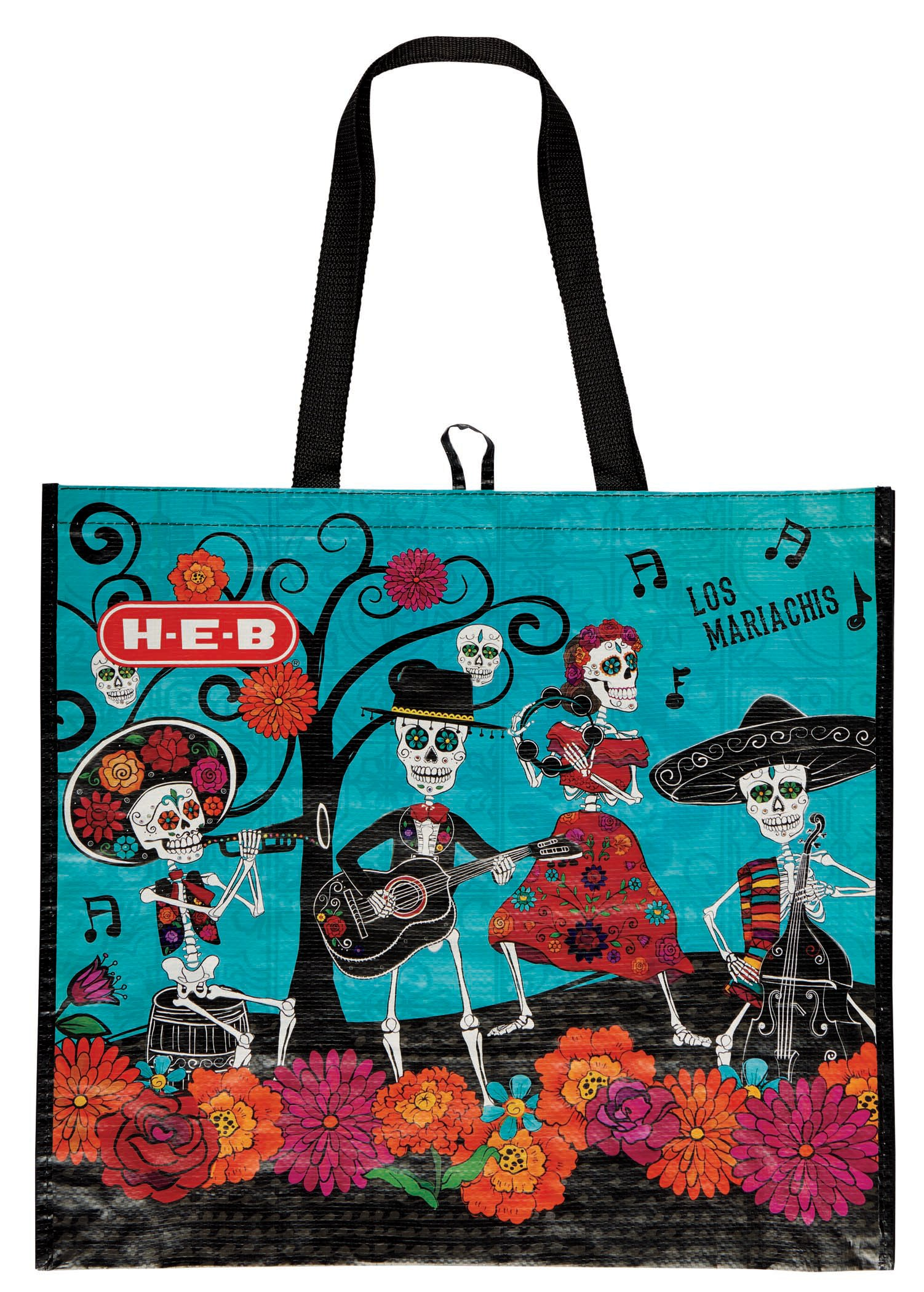 Day of the dead dia de los muertos heb h e b day of the dead xl mariachi reusable bag dailygadgetfo Images