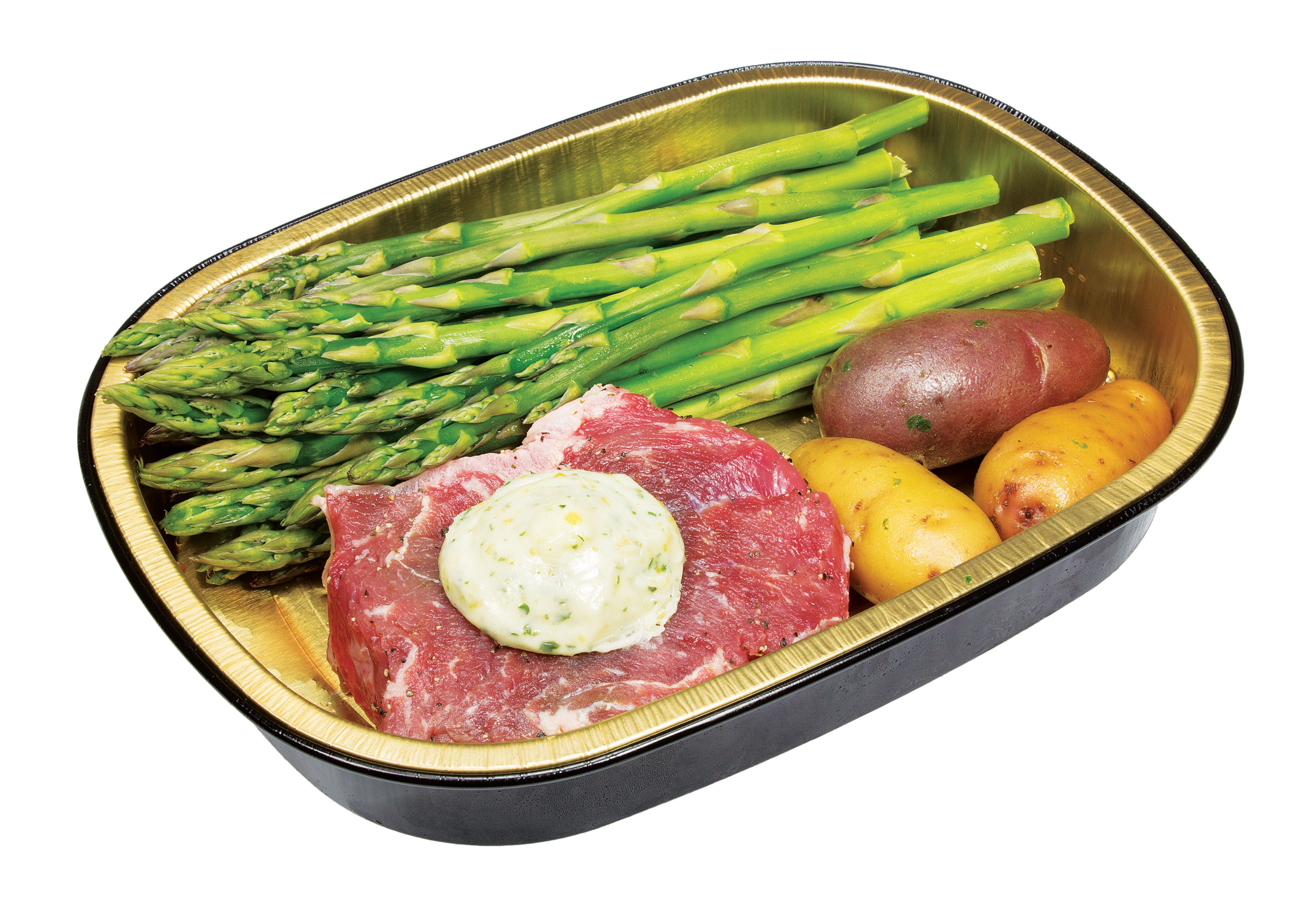 heb meal simple garlic butter choice strip steak with asparagus and potatoes shop meal simple at heb