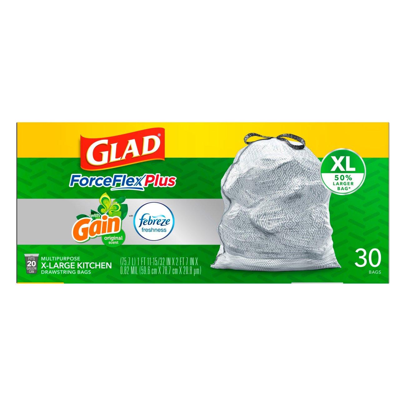 Glad X Large Kitchen Drawstring Trash Bags ForceFlex Kitchen Pro 20 Gallon