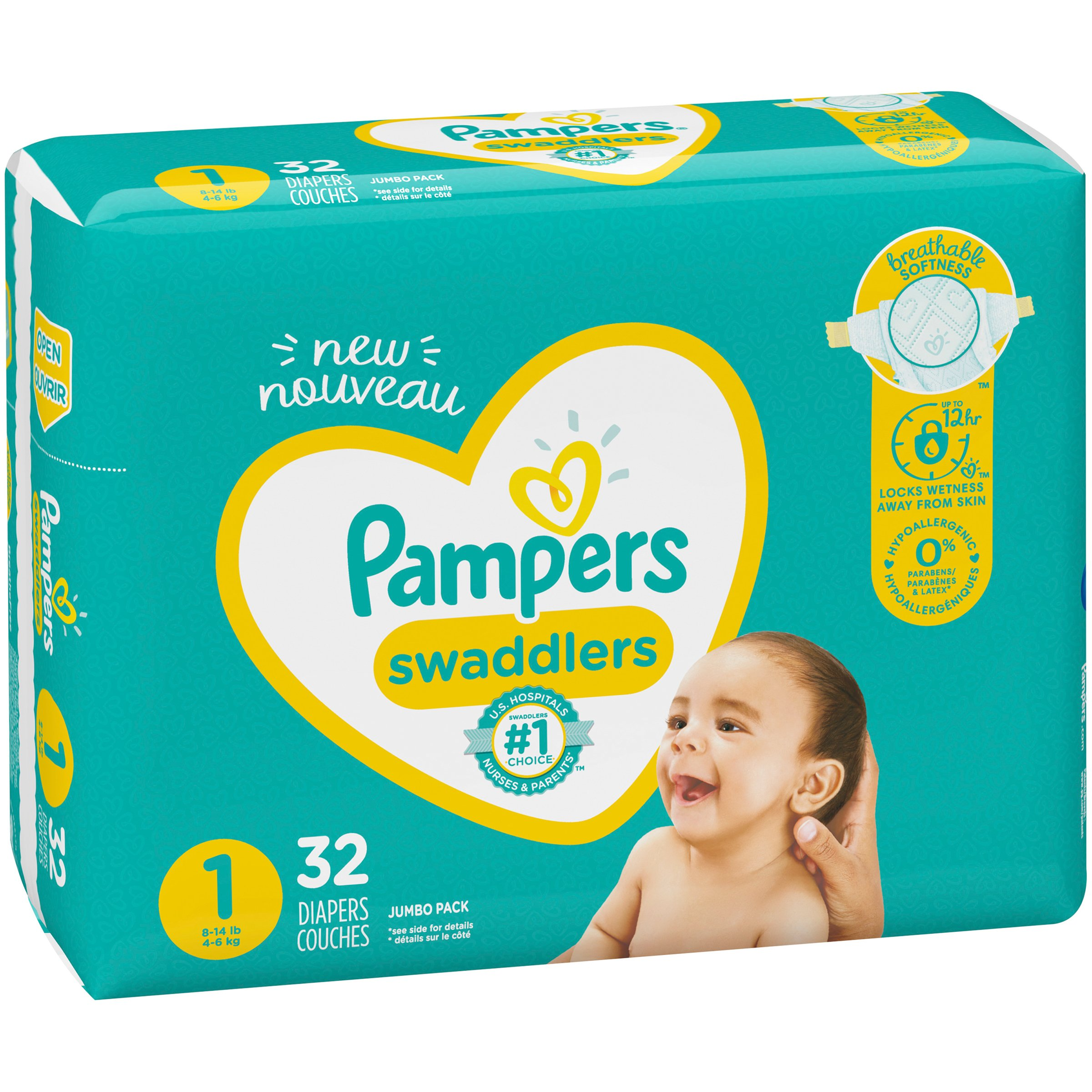 32 Count Size 2 Pampers Swaddlers Diapers