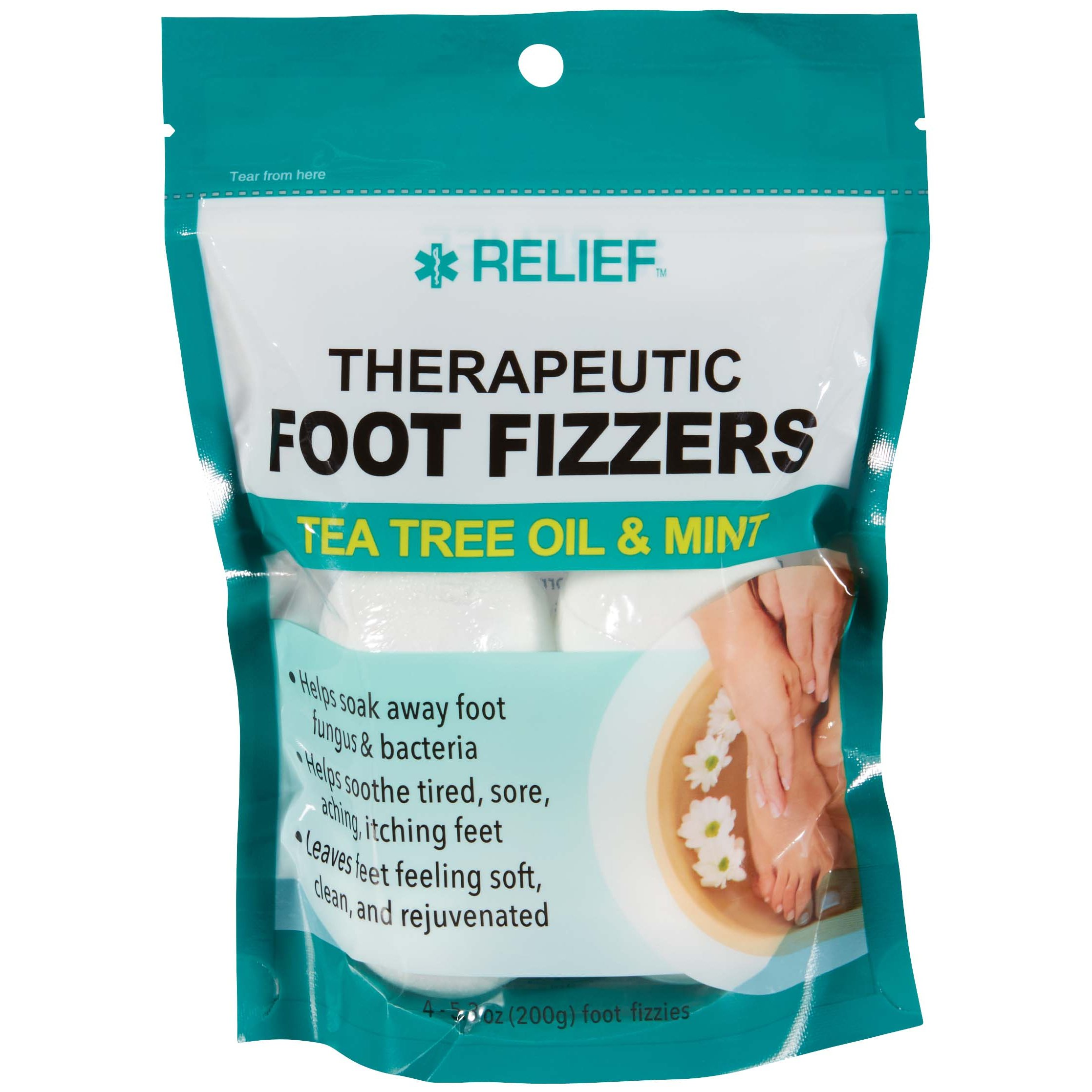 Relief Therapeutic Foot Fizzers Tea Tree Oil Mint Shop Foot Care At H E B