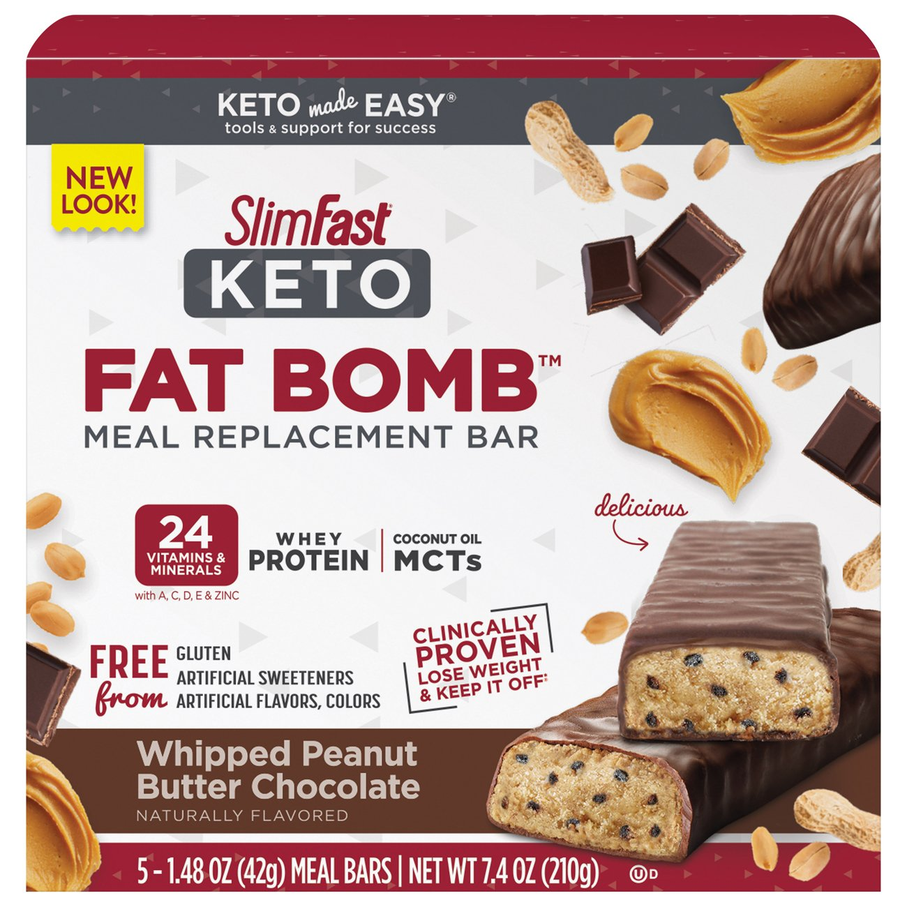 Slimfast Keto Whipped Peanut Butter Chocolate Meal Bar Shop Diet Fitness At H E B