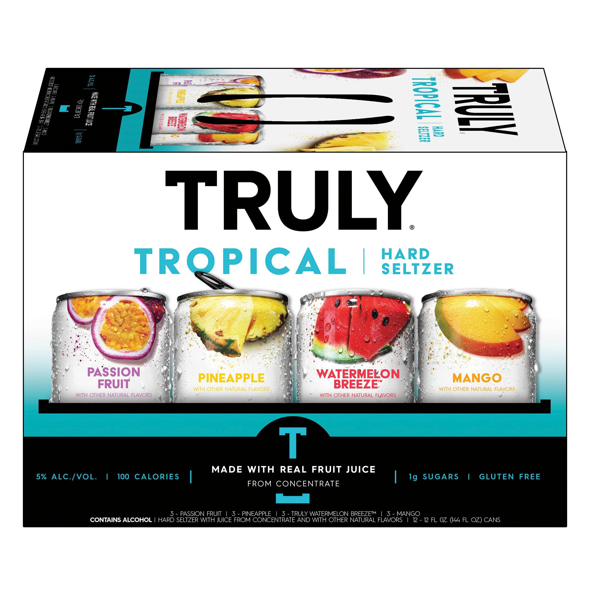 Truly Hard Seltzer Tropical Mix Pack 12 oz Cans - Shop Malt Beverages &  Coolers at H-E-B