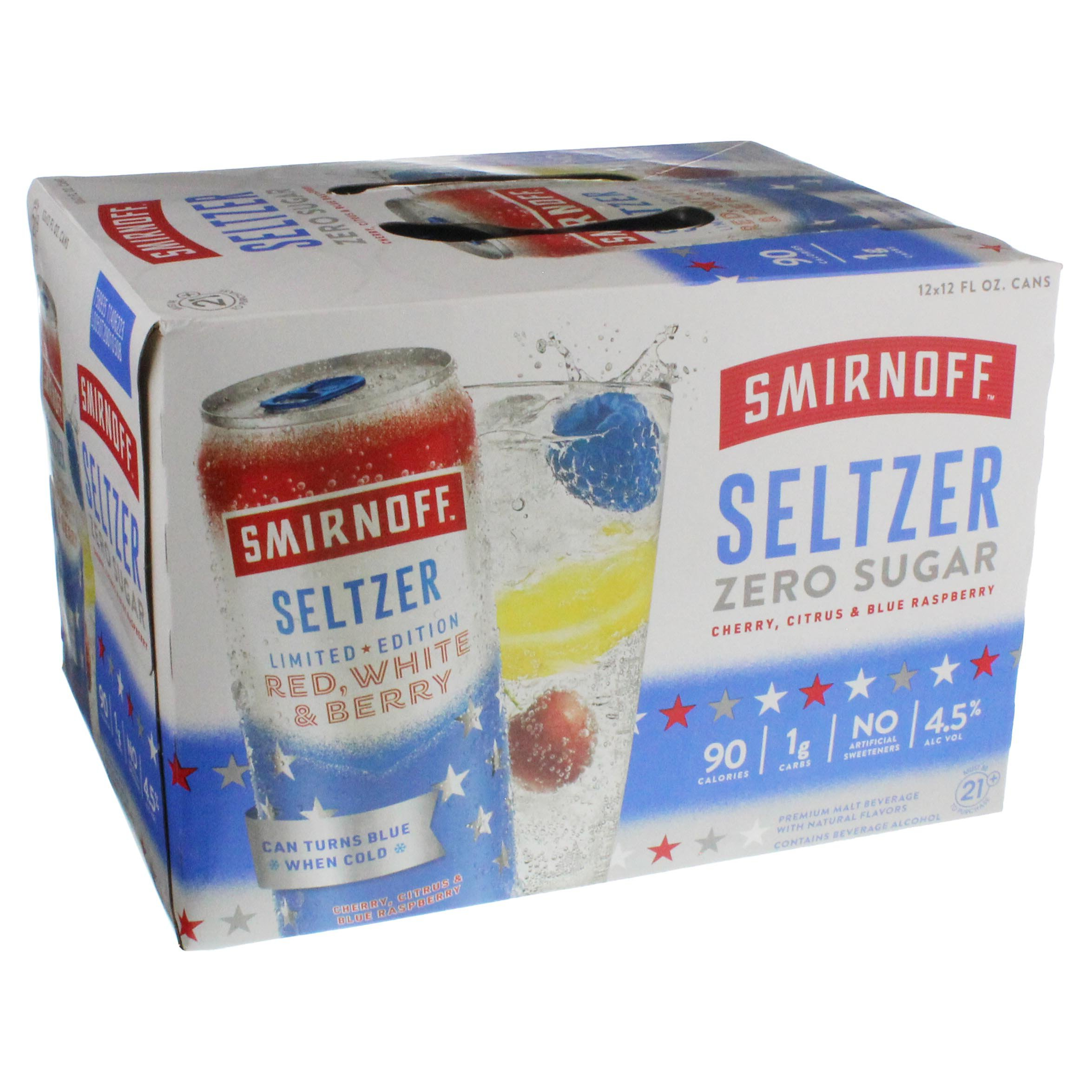 Smirnoff Red, White & Berry Seltzer 12 oz Cans ‑ Shop Malt Beverages &  Coolers at H‑E‑B