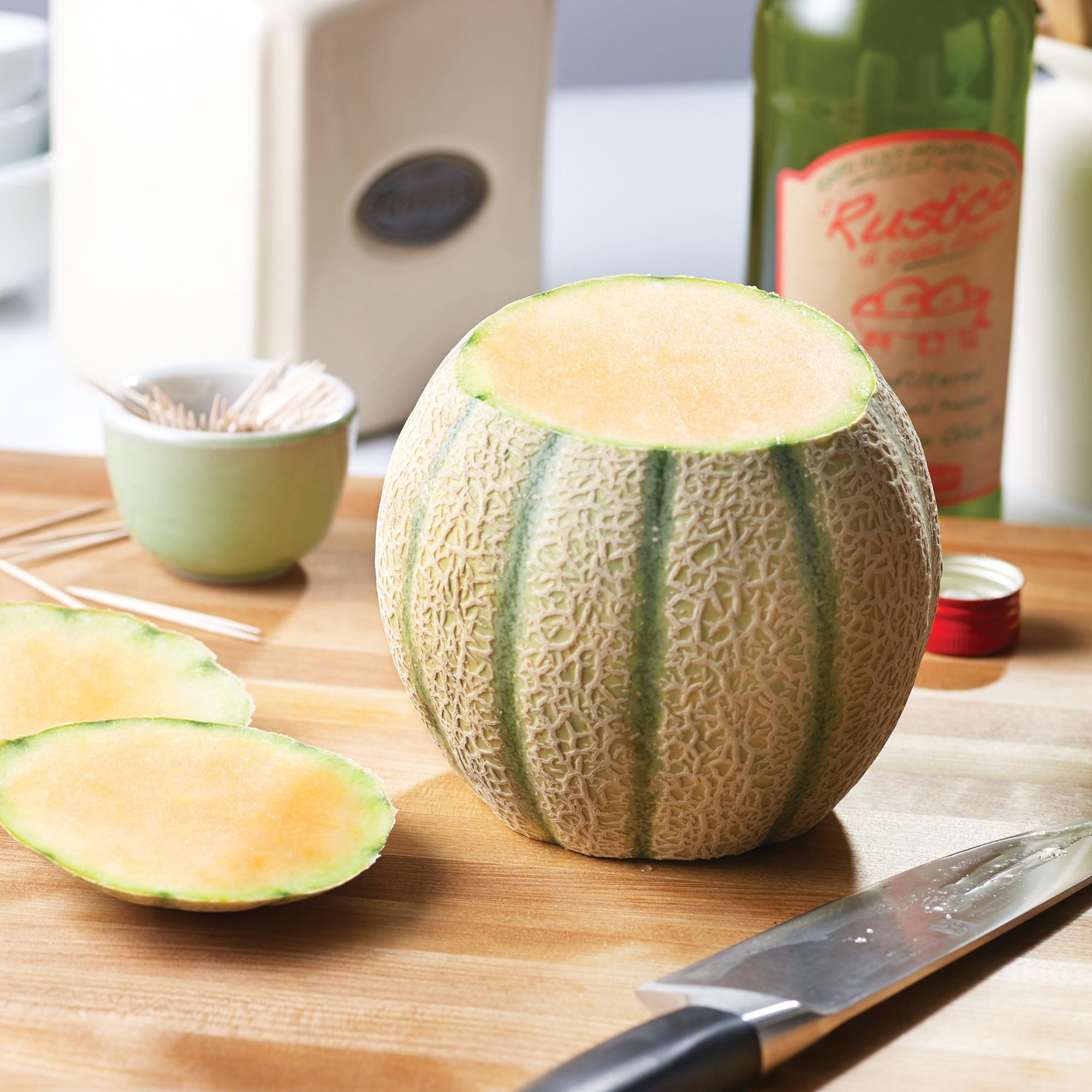 Prosciutto Wrapped Melon Step 2: Slice