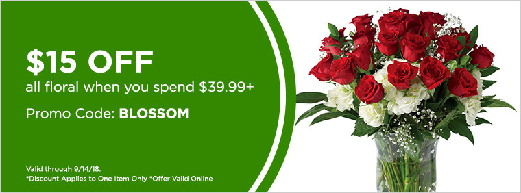 $15 off all Floral when you spend $39.99+ PROMO CODE: BLOSSOM