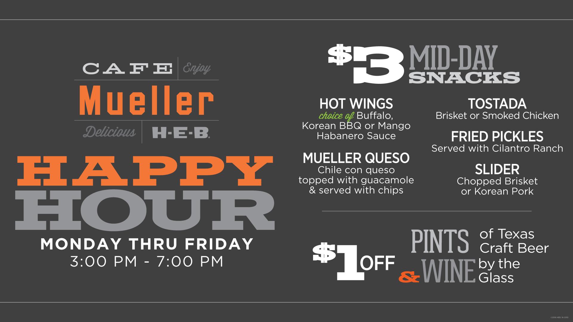 Cafe Mueller Happy Hour Menu