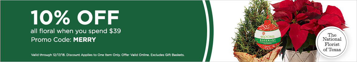 Save 10% when you spend $39+ with promo code: MERRY *Excludes Gift Baskets, Offer Valid Online, Discount Applies to One Item Only