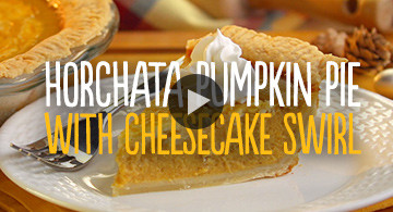 Horchata Pumpkin Pie with Cheesecake Swirl