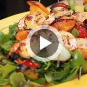 Grilled Shrimp Skewers with Pineapple Orange Salsa