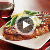 NY Strip Steaks with Garlic Blue Cheese Butter