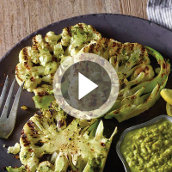 Grilled Cauliflower Steaks with Charred Romaine Pistou