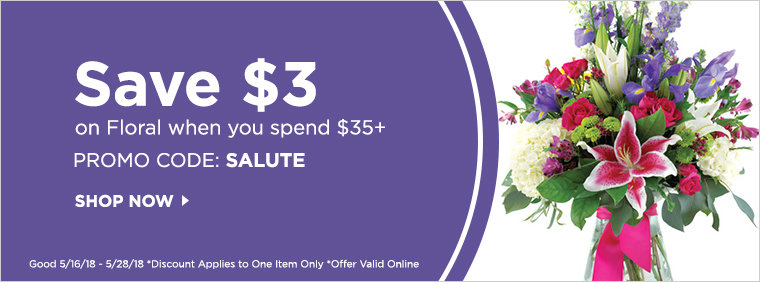Save $3 on Floral when you spend $35+ with code SALUTE