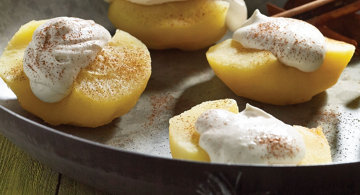 Cider Poached Apples with Buttermilk Soft Cream
