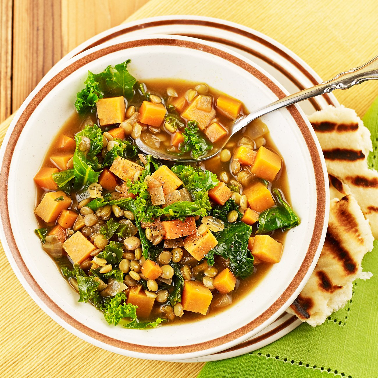 Lentil Stew with Kale Sweet Potatoes