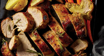 One Pan Roasted Pork with Carrots and Apples