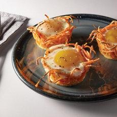 Baked Eggs in Sweet Potato Nests