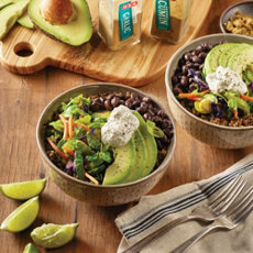 Black Bean and Shaved Brussels Sprouts Bowls