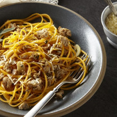 Garlicky Sage Butternut Squash Noodles with Ground Turkey