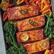 One Pan Roasted Salmon with Peppers & Broccolini