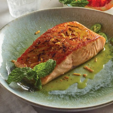 Seared Salmon with Mint Oil