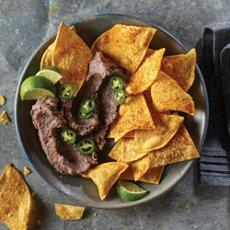 Spicy Black Bean Dip with Baked Tortilla Chips
