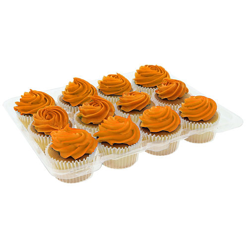 H-E-B White Cupcakes with Orange Buttercream Icing