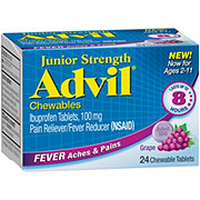 Advil Junior Strength Fever Reducer/Pain Reliever Ibuprofen 100 mg for Ages 6-11 Years Grape Chewable Tablets