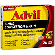 Advil Sinus Congestion & Pain Relief Ibuprofen Coated Tablets