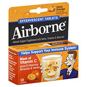 Airborne Immune Support Supplement Zesty Orange Effervescent Tablets