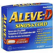 Aleve D Sinus and Cold Naproxen 220 mg/Pseudoephedrine HCL120 mg Caplets