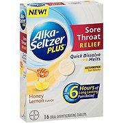 Alka-Seltzer Plus Sore Throat Relief Quick Dissolve Melts Honey Lemon