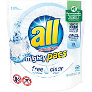 All Mighty Pacs with Stainlifters Free Clear HE Laundry Detergent Pacs
