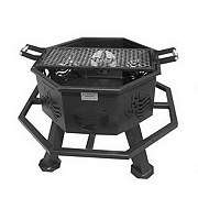 All Seasons Feeders 28 in Fire Pit with Grill, Texas Themed