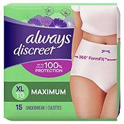 Always Discreet Incontinence Underwear for Women Maximum Classic Cut, 15 ct