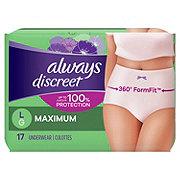 Always Discreet Incontinence Underwear for Women Maximum Classic Cut, 17 ct