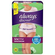 Always Discreet Incontinence Underwear for Women Maximum Classic Cut, 32 ct