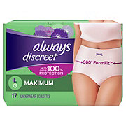 Always Discreet Incontinence Underwear Maximum Protection Large