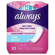 Always Thin Daily Liners Clean Scent Wrapped Regular
