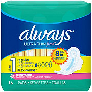 Always Ultra Thin Fresh Size 1 Regular Pads With Wings Scented