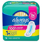 Always Ultra Thin Size 1 Regular Pads With Wings Unscented