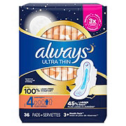 Always Ultra Thin Size 4 Overnight Pads With Wings Unscented