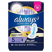 Always Ultra Thin Size 5 Extra Heavy Overnight Pads With Wings Unscented