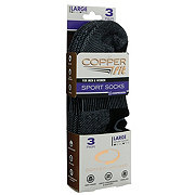 As Seen On TV Copper Fit Sport Socks, Black, Large