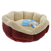 "Aspen Pet 19"" Self Warming Red & Cream Oval Pet Lounger"